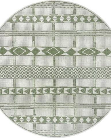 Zeleno-béžový venkovní koberec Ragami Madrid, ø 160 cm