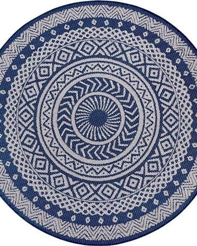 Modro-šedý venkovní koberec Ragami Round, ø 160 cm