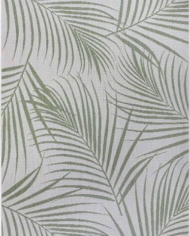 Zeleno-šedý venkovní koberec Ragami Flora, 80 x 150 cm