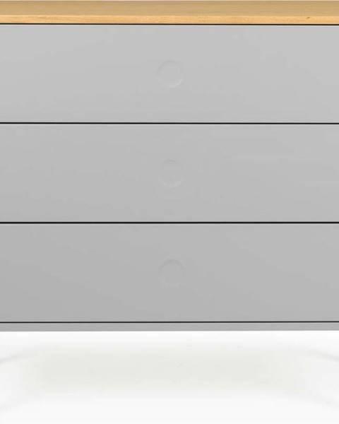 Tenzo Šedá komoda s nohami z dubového dřeva Tenzo Dot, 90 x 79 cm