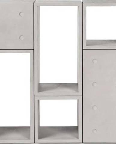 Betonová variabilní 6dílná knihovna Lyon Béton Dice