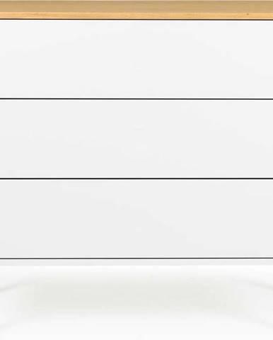 Bílá komoda s nohami z dubového dřeva se 3 zásuvkami Tenzo Dot, 90 x 79 cm