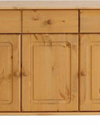 Hnědá třídveřová komoda z masivního borovicového dřeva Støraa Ella
