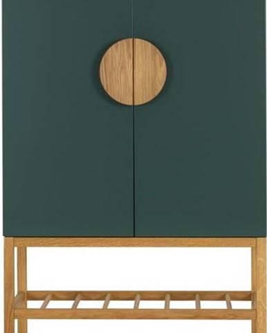 Zelený příborník s nohami z dubového dřeva Tenzo Scoop, výška 162 cm