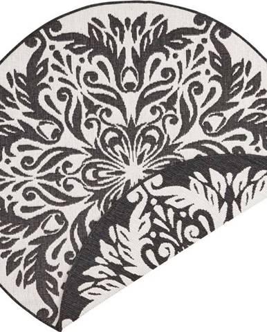 Černo-krémový venkovní koberec Bougari Madrid, ⌀ 200 cm