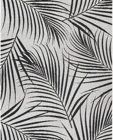 Černo-šedý venkovní koberec Ragami Flora, 200 x 290 cm