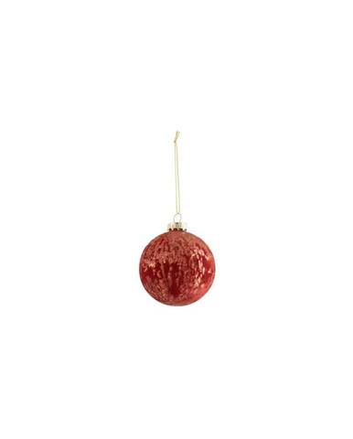 Sada 6 červených skleněných vánočních ozdob J-Line Velvet