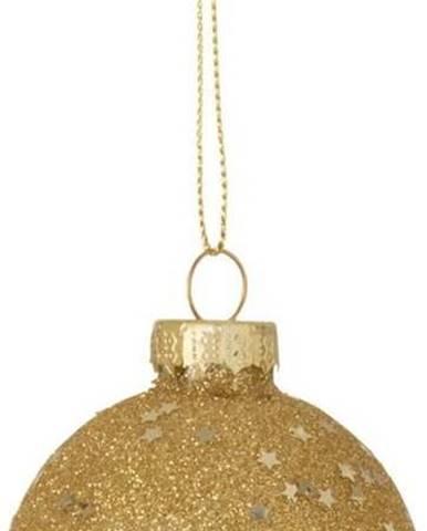 Sada 6 skleněných vánočních ozdob ve zlaté barvě J-Line Baubles